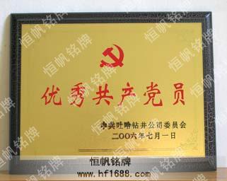产品介绍: 进口木板底托,表面贴高级木纹纸,上面贴沙金金属牌匾